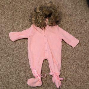 Baby girls pink faux fur trim pram suit